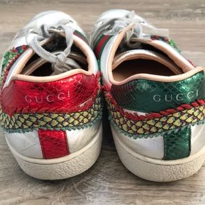01f0f194f1b Gucci Shoes - Gucci silver ace dragon embroidered sneakers